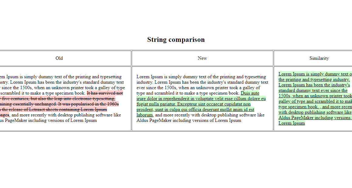 compare strings