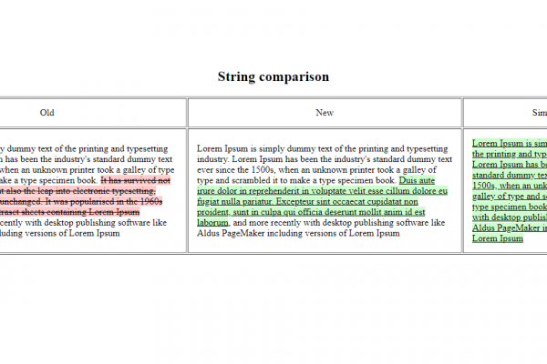 Highlight and Compare strings with differences and similarities in php